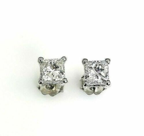 Natural Colorless 1.40 Carats t.w. PrincessCut Diamond Stud Earrings 14K White