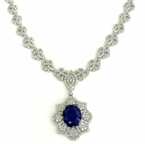 24.05 Carats t.w. Diamond and Blue Sapphire Dinner Necklace 18K Gold 38 Grams