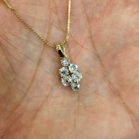 Antique 1.22 Carats t.w. Old Mine Old Euro Diamond Pendant H -I SI Diamonds 14K