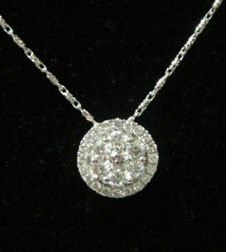 Fine Round Brilliants Solitaire Cluster Pendant Necklace 18kt White Gold