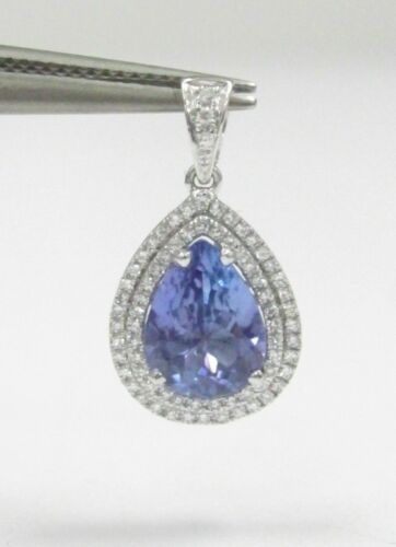 1.96 TCW Pear Drop Tanzanite Round Brilliants Diamond Pendant 14kt WG