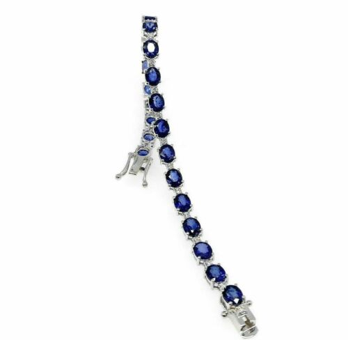 14.50 Carats Blue Sapphire and Diamond Tennis Bracelet 18K White Gold