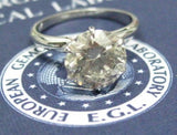 EGL- USA Certified 3.06 Ct Round Diamond Engagement Ring Solitaire H-I SI2 Plat