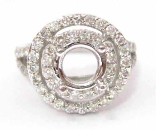 Fine 4 Prongs Semi-Mounting Engagement Ring for Round Diamond or Gem 14k W Gold