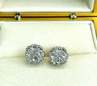 1.80 Carats t.w. Special Cut Invisible Set Diamond Stud Earrings White Gold