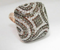 3.32 TCW Natural Square Puffed Champagne Diamond Ring 14k Rose Gold Size 7
