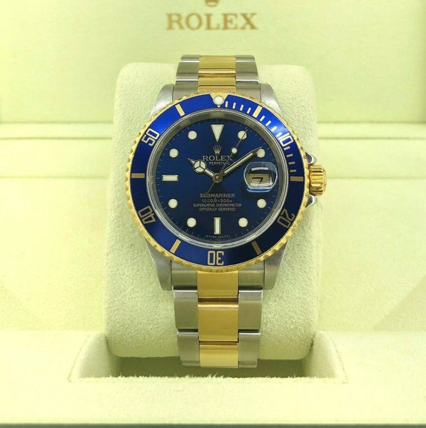 Rolex Blue Submariner Date 18K Yellow Gold & Steel Watch Ref 16613 T Z Serial