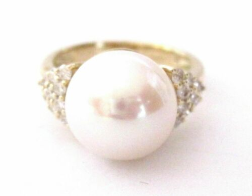 11mm White Pink Pearl w/ Diamond Accents Solitaire Ring 14kt Yellow Gold Size 7
