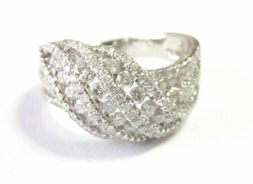 1.57Ct 3 Row Wave Round Cut Diamond Cocktail/Fashion Cluster Ring Size 7 18k WG