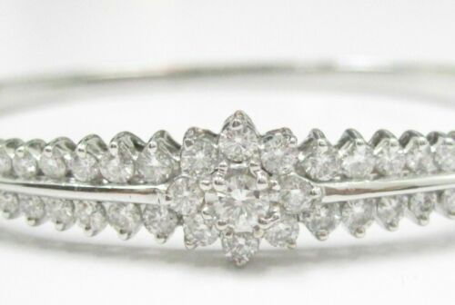 2.25 TCW Natural Cluster Round Brilliants Diamond Bangle/Bracelet 14k White Gold