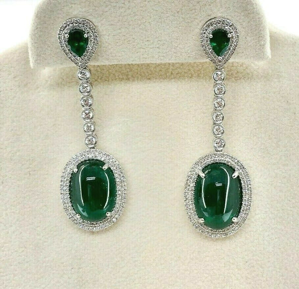 13.82 Carats 14K Emerald and Diamond Dangle Earrings Emeralds are 12.55 Carats