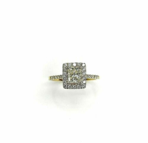 1.10 Carats Square Princess Cut Diamond Halo Engagement Ring 0.70 Carat Center