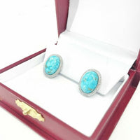 Turquoise w/ Halo Diamond Earrings 14K white Gold Push Back Studs