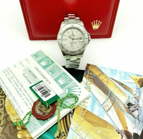 Rolex 35 MM Midsize YachtMaster Platinum and Steel Watch Ref # 168622 BoxPapers