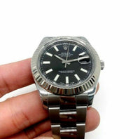 Rolex 41MM Datejust II Watch 18K Fluted Bezel Stainless Steel Ref 116334