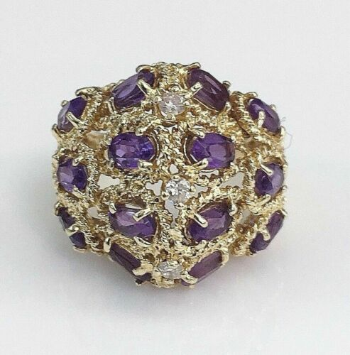 2.17 Carats t.w. Diamond and Amethyst Cocktail Ring 14K Gold 8.8 Grams