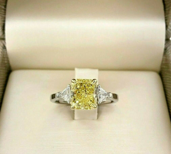 GIA 2.58 Carats t.w. Radiant Fancy Intense Yellow Trillion Diamonds Wedding Ring