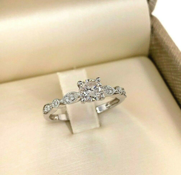 0.64 Carats t.w. Solitaire Round Brilliant Cut Pave Diamond Wedding Ring 14K