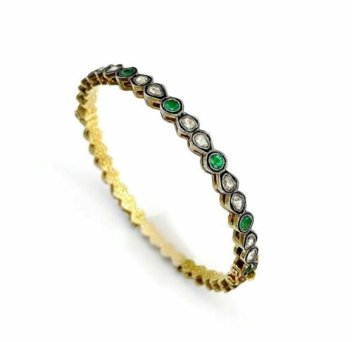 4.40 Cts Natural Rose Cut Diamond & Emerald Bangle/Bracelet 14k Gold and Silver