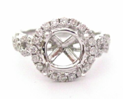 Fine 4 Prongs Semi-Mounting Round Diamond Ring Engagement 18k .84 TCW