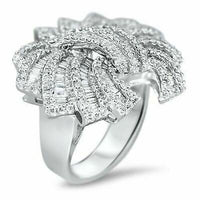 2.89 Carats t.w. Diamond Anniversary Celebration Ring 18K Gold 1.20 x 1.25 Inch