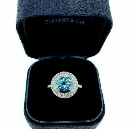 Tiffany & Co. Aquamarine and Diamond Soleste Double Halo Ring in Platinum