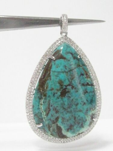 HUGE Pear-Shaped Turquoise with Side Diamonds Pendant 14K White Gold