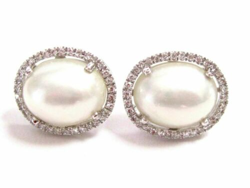 4.34 TCW White Pearl w/ Diamond Accents Stud Earrings Push Back 14k White Gold