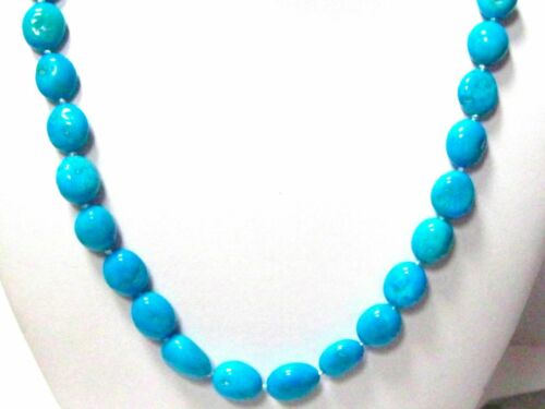236.29 TCW Oblong/Oval Persian Turquoise Bead String Necklace 20 Inches