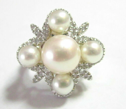 Fine Natural White Pearl & Diamond Cluster Cocktail Ring Size 7 18k White Gold