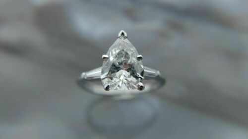 1.75CT GIA Certified F/SI2 PEAR SHAPE Diamond PLATINUM Engagement Ring