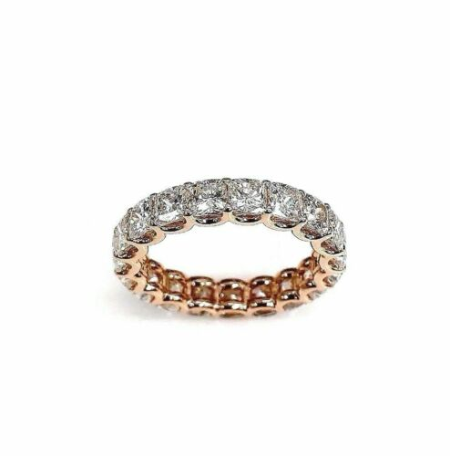 4.78 Carats Cushion Cut Diamond U Prong Eternity Band Ring 18K Rose Gold FG VS