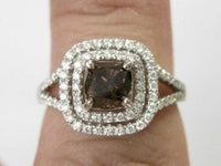 1.65 TCW Natural Cushion Fancy Brown Diamond Solitaire Ring Size 7 18k WhiteGold