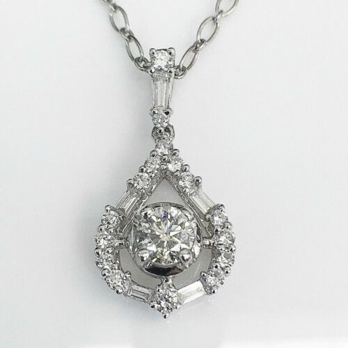 0.83 Carat t.w. Diamond Pendant 0.43 Carat Center 18K Gold w 14K Chain