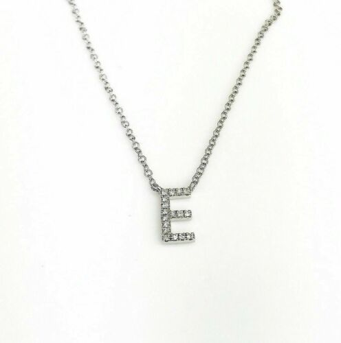 0.07 Carat New Custom Made Initial E Diamond Pendant w 14K Gold Adjustable Chain