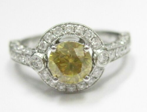 3.22 TCW Art Deco Fancy Yellow Diamond Solitaire Ring Size 6.75 18k White Gold