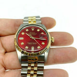 Rolex 36MM Datejust Watch 18K Yellow Gold Stainless Steel Ref 16013 Quick Set