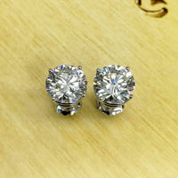 12.02 Cttw. GIA J SI1 Perfectly Matched Pair Stud Earrings On Platinum IDEAL CUT