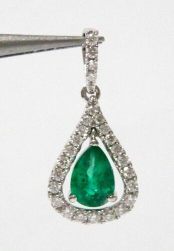 .95 TCW Natural Pear Green Emerald & Round Diamond Accents Pendant 14k Gold