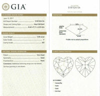 4.48 Carats t.w. Heart Halo Diamond Dangle Earrings 2 Carats Each GIA F-G Color