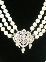 Pearls & Diamonds Detachable Pendant/Brooch Strand/String Necklace 18k 17.5""
