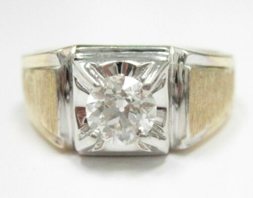 .87Ct Round Brilliant Cut Diamond Engagement Ring Size 9.5 H VS2 14k Yellow Gold