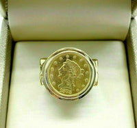 24K Gold 1878 $2.5 Dollar Liberty Head Coin Ring in 14K Gold Custom Made Ring