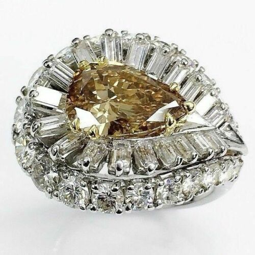 7.01 Carats t.w. Antique Diamond Ring 2.36 Carats Fancy Deep Brown GIA Cert