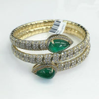 18K Gold 17.54 Carats t.w. Diamond and Emerald Cuff Bangle 2.45 Ounces of Gold