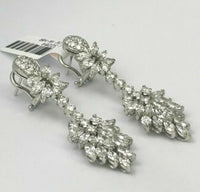 5.40 TCW Diamond Dangle Earrings Luxury Round and Marquise Cut 18K White Gold