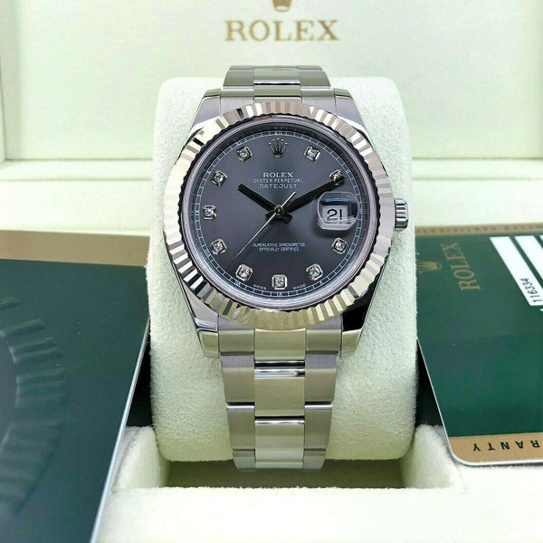 Rolex 41MM Datejust 2 Factory Diamond Watch 18K Gold Stainless Steel Ref 116334