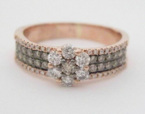 .70 TCW Natural Round Brilliants Champagne Flower Diamond Ring 14k Rose Gold