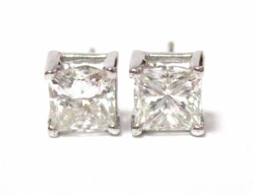 1.75 TCW Princess Cut Diamond Stud Earrings G-H VS2 Push Back 14k White Gold