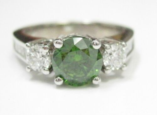 HPHT Round Fancy Green Solitaire Diamond Engagement Ring VVS2 Sz 6.5 14k WGold